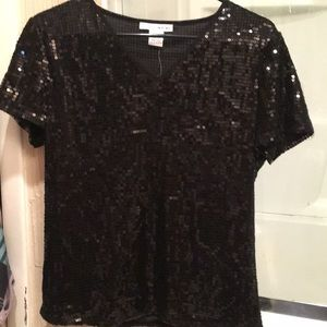 Tops - NWT WDNY BLACK SHINY SEQUIN TOP SHIRT M NIGHT OUT